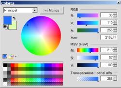 Las opciones que nos ofrece Paint .Net para elegir los colores.
