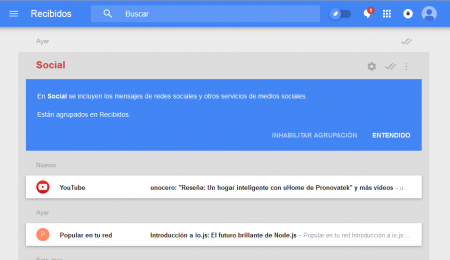 interfaz de Inbox Web de Google